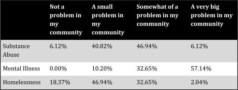 Neighborhood Analysis ● Substance abuse and mental illness considered most prevalent problems in the communities