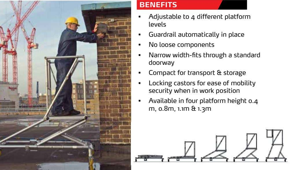 BENEFITS • Adjustable to 4 different platform levels • Guardrail automatically in place • No