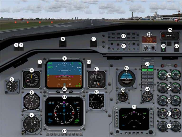 Pilot In Command IFR View 2D Instrument Panel Views 1. GPWS terrain warning and test button