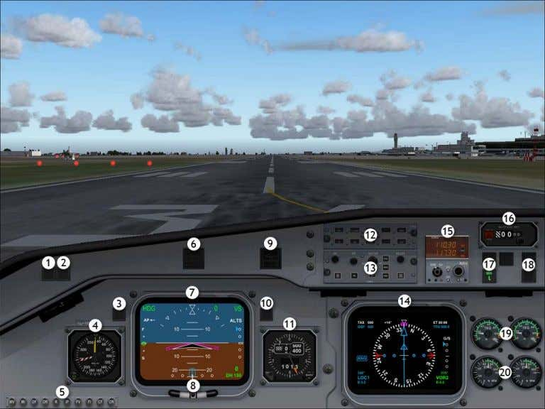 Pilot In Command VFR view 2D Instrument Panel Views 1. GPWS terrain warning and test button