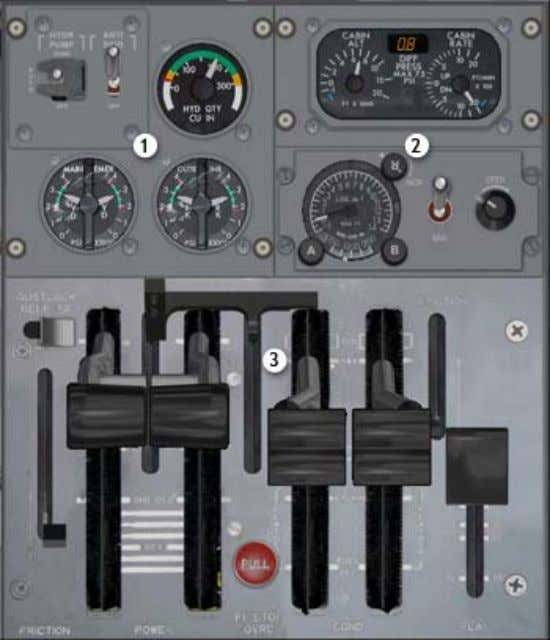 Forward Center Pedestal Forward Center Pedestal 1. Hydraulic control panel 2. Cabin pressure control and indication