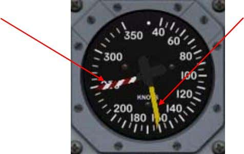 not require electrical power to operate. V M O Pointer Indicated Airspeed Pointer V M O