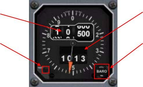 electrical power to operate. Altitude Indication Test Button Baroset Indication Baroset Knob Altitude Indication Shows