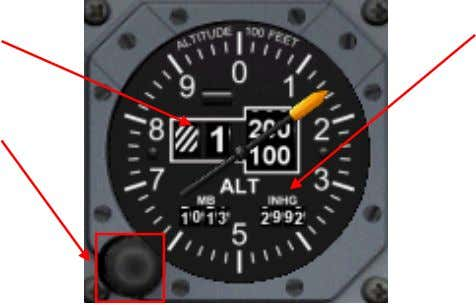 cal power to operate. Altitude Indication Baroset Knob Baroset Indication Altitude Indication Shows aircraft