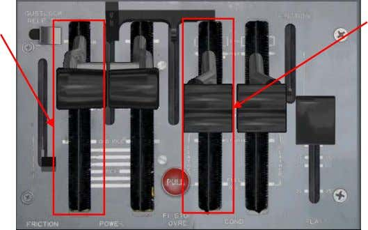 can be found on the center pedestal. L/R Power Lever L/R Condition Lever L/R Power Lever