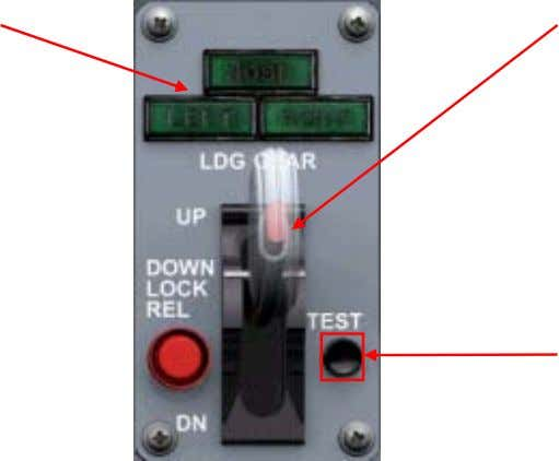 and Controls Landing Gear Control Panel Landing Gear Lights Landing Gear Handle Test Button Landing Gear