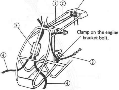 6. Coupler Cover 7. Taillight 3 Clamp 7 Through the clamp. 8. Front Brake Cable Equalizer