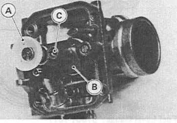 from the carburetor body. A. Pin B. Float with Float Valve A. Main Jet Fence B.