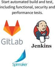 Start automated build and test, including functional, security and performance tests. Jenkins