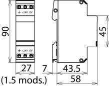 Figure without obligation Basic circuit diagram BVT AD 24 Dimension drawing BVT AD 24 DIN rail