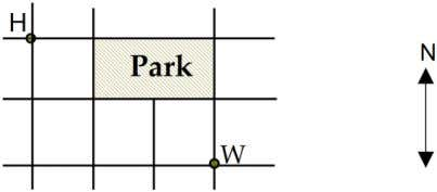 diagram below, the lines represent the streets in his area. How many different routes are there