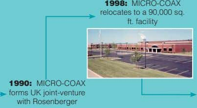 1998: MICRO-COAX relocates to a 90,000 sq. ft. facility 1990: MICRO-COAX forms UK joint-venture with