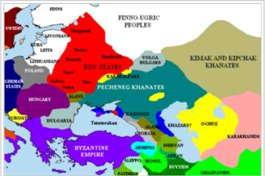 The Pontic steppes, c. 1015 (areas in blue possibly still under Khazar control).