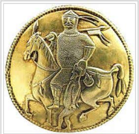 Khazar warrior with his captive from the Treasure of Nagyszentmiklós. Experts cannot agree if this