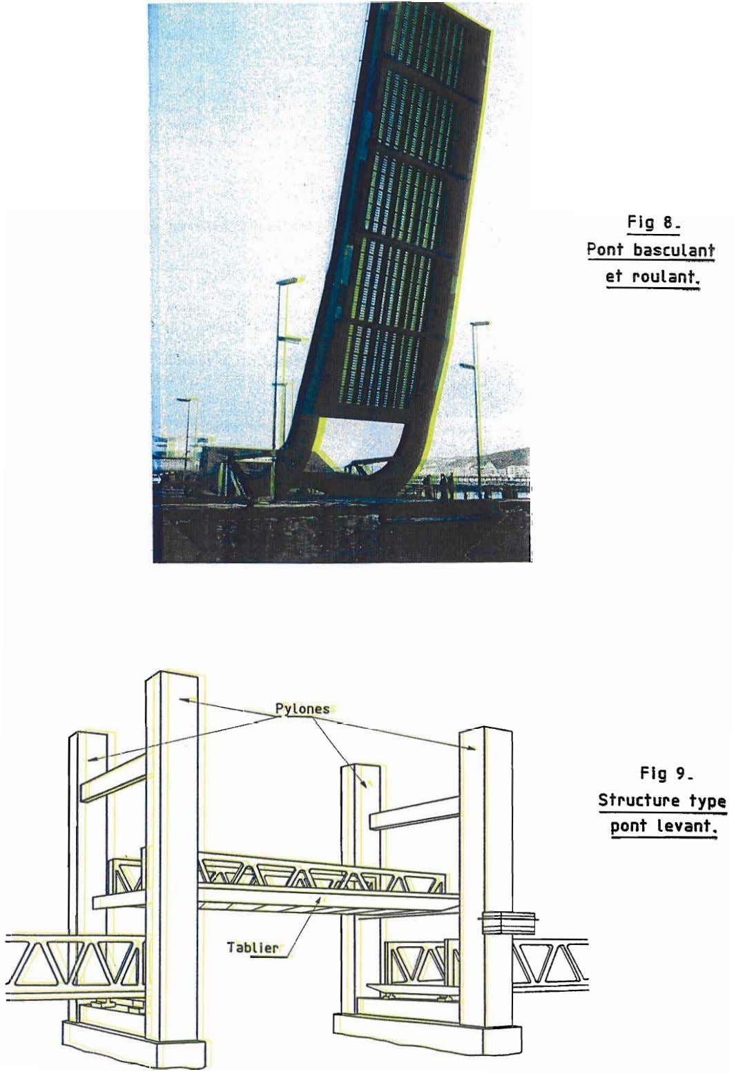 Fig 8. Pont basculant et roulant. Fig 9_ Structure type pont levant. ­ Tablier