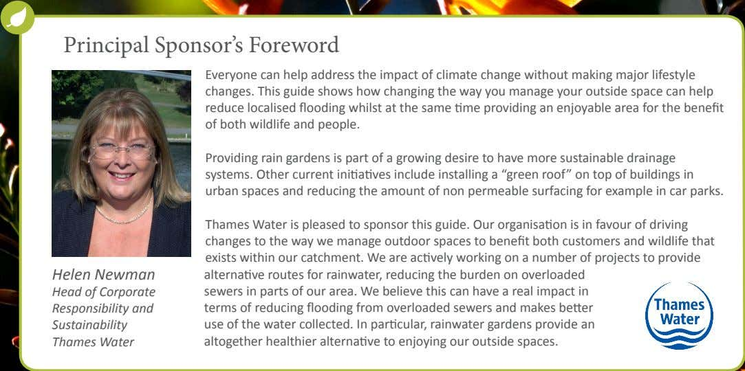 Principal Sponsor's Foreword Everyone can help address the impact of climate change without making major