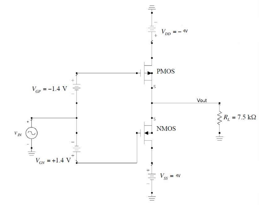 Figure 1 Push-pull MOSFET power amplifier circuit Part 1 First we know from the question that