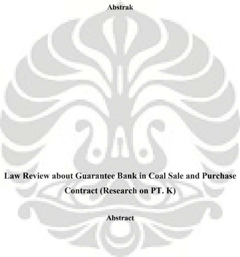 Abstrak Law Review about Guarantee Bank in Coal Sale and Purchase Contract (Research on PT.