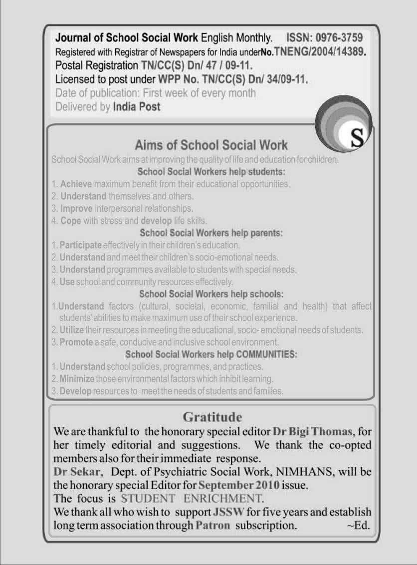 Journal of SCHOOL SOCIAL WORK August 2010