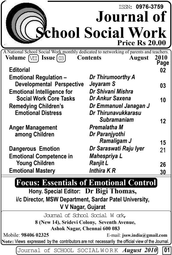 ISSN: 0976-3759 Journal of School Social Work Price Rs 20.00 A National School Social Work