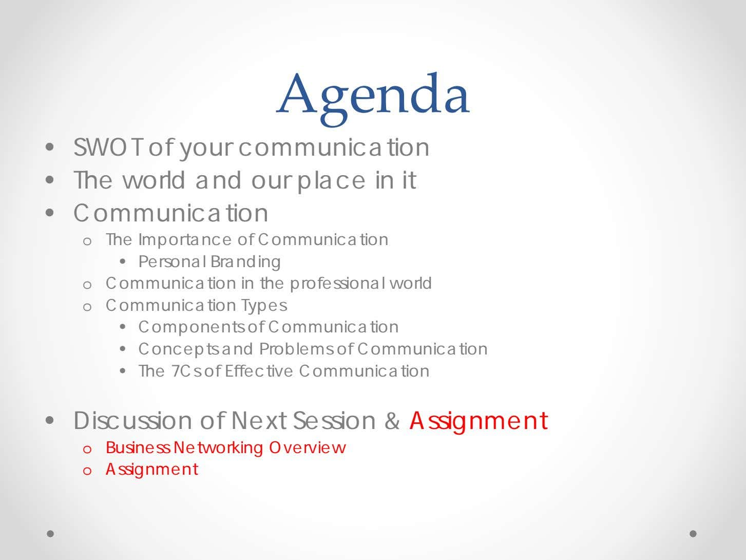 Agenda • SWOT of your communication • The world and our place in it •