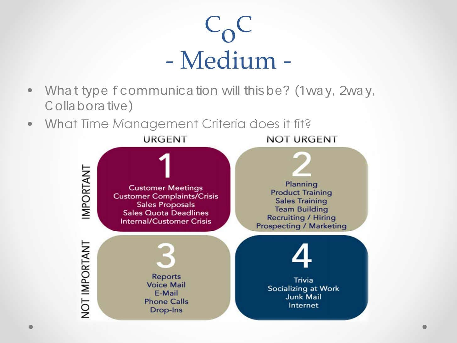 C o C ‐ Medium ‐ • What type f communication will this be? (1way,