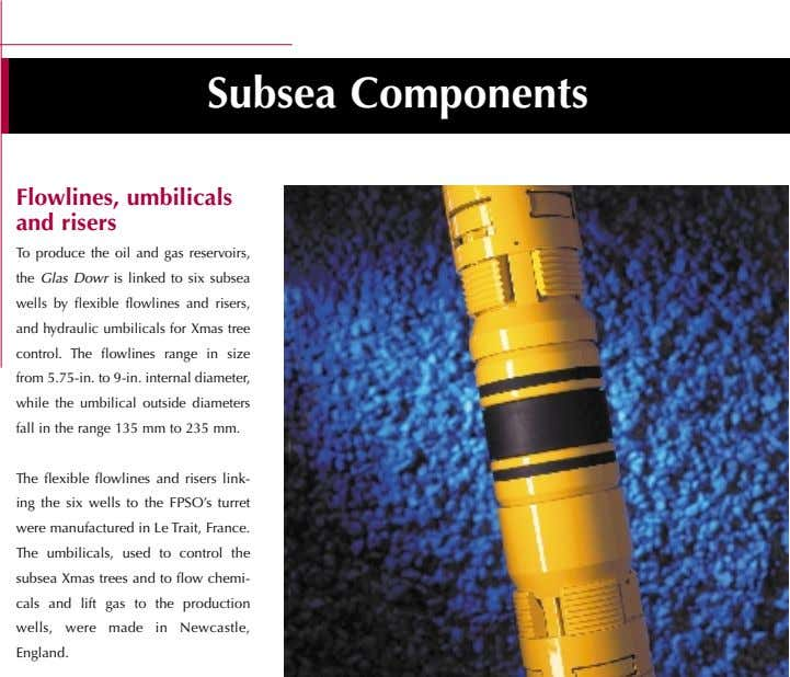 Subsea Components Flowlines, umbilicals and risers To produce the oil and gas reservoirs, the Glas