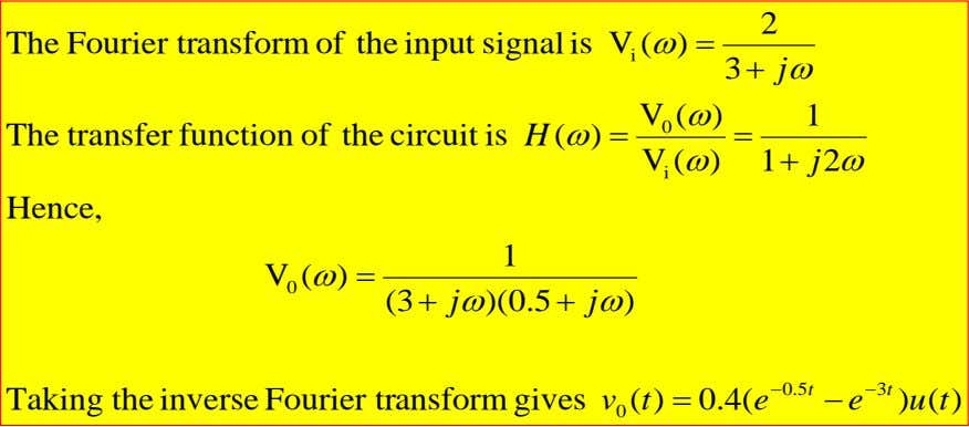2 The Fourier transform of the input signal is V ( ω ) = i