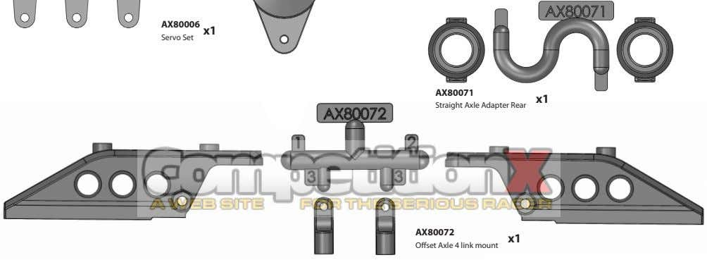 AX80071 x1 Straight Axle Adapter Rear AX80072 x1 Offset Axle 4 link mount