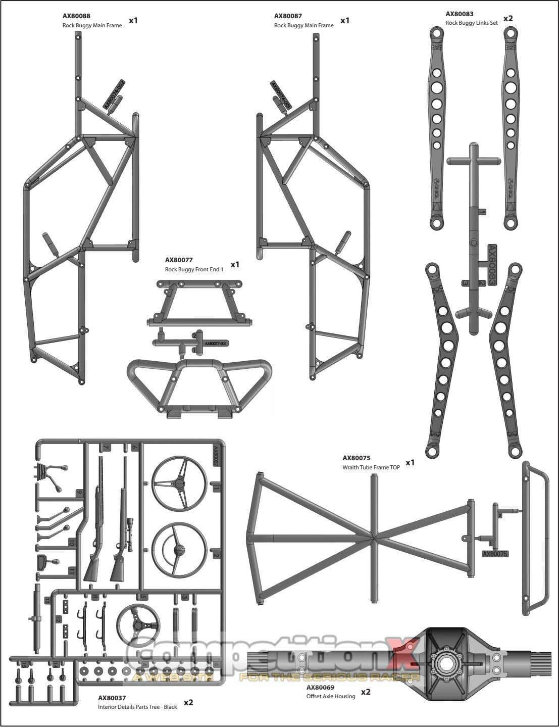 AX80083 AX80088 AX80087 x2 x1 x1 Rock Buggy Links Set Rock Buggy Main Frame Rock