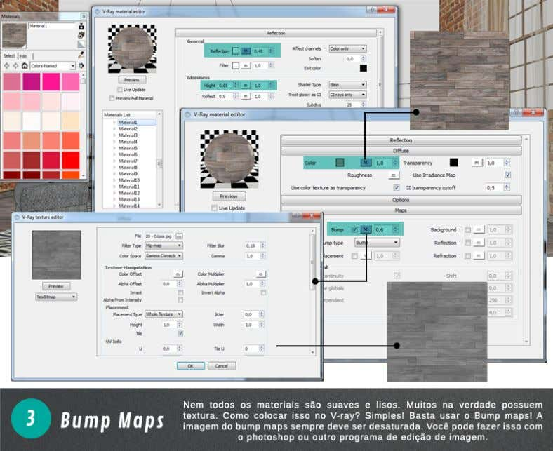 3. Bump Map: 4. Displacement Map:
