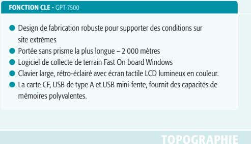 FONCTION CLE - GPT-7500 l Design de fabrication robuste pour supporter des conditions sur site