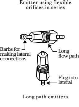 Emitter using flexible orifices in series Barbs for Long making lateral flow path connections Plug