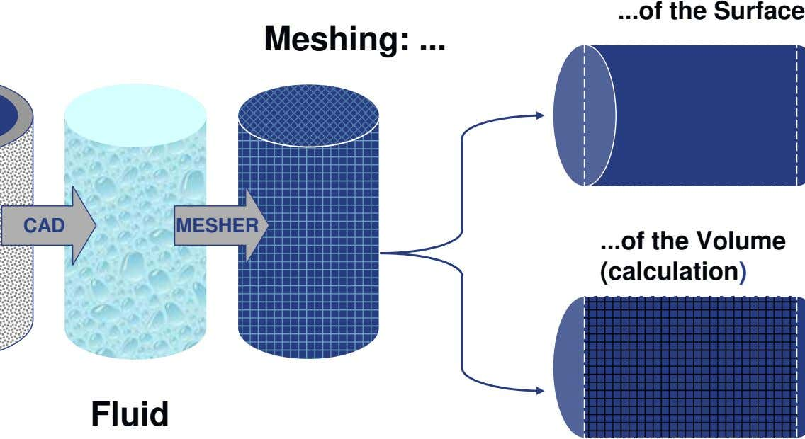 ... of the Surface Meshing: ... CAD MESHER ... of the Volume (calculation) Fluid
