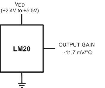 in tiny SC70-5 and miniature 4-bump micro-SMD packages. Figure 2-3. LM20 Connections. Three Connections Provide a