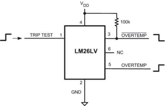 Temperature-Sensor ICs Figure 2-11. The LM26LV TRIP TEST Input Allows Easy Testing of OVERTEMP Outputs LM26