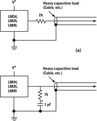 V + Heavy capacitive load (Cable, etc.) 2k LM34, LM35, LM45 (a) + V Heavy