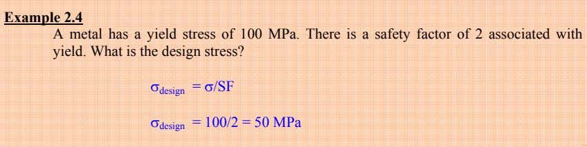 Example 2.4 A metal has a yield stress of 100 MPa. There is a safety