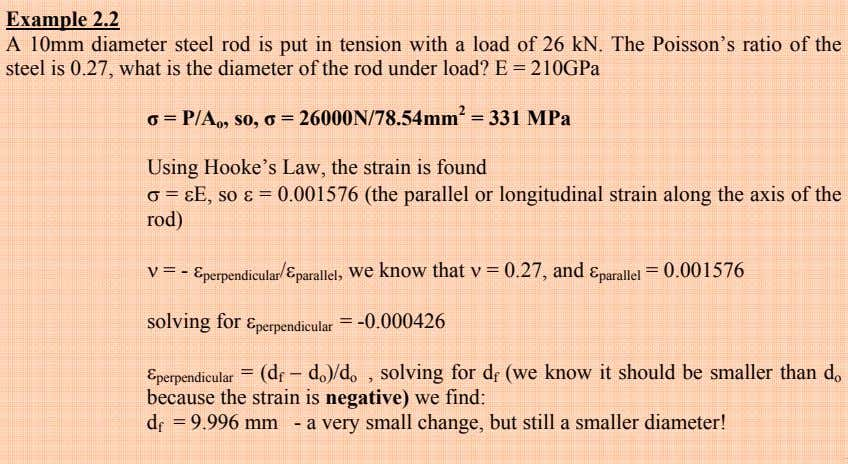 Example 2.2 A 10mm diameter steel rod is put in tension with a load of