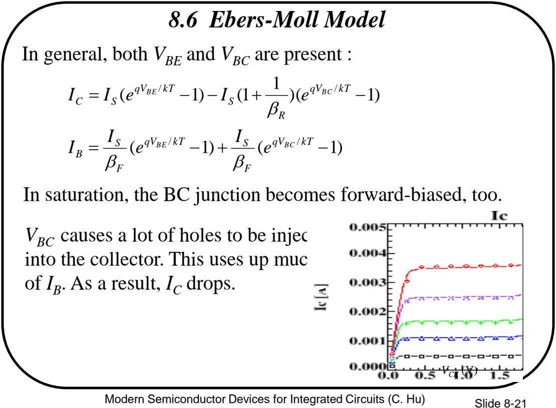 8.6 Ebers-Moll Model In general, both V BE and V BC are present : 1 qV