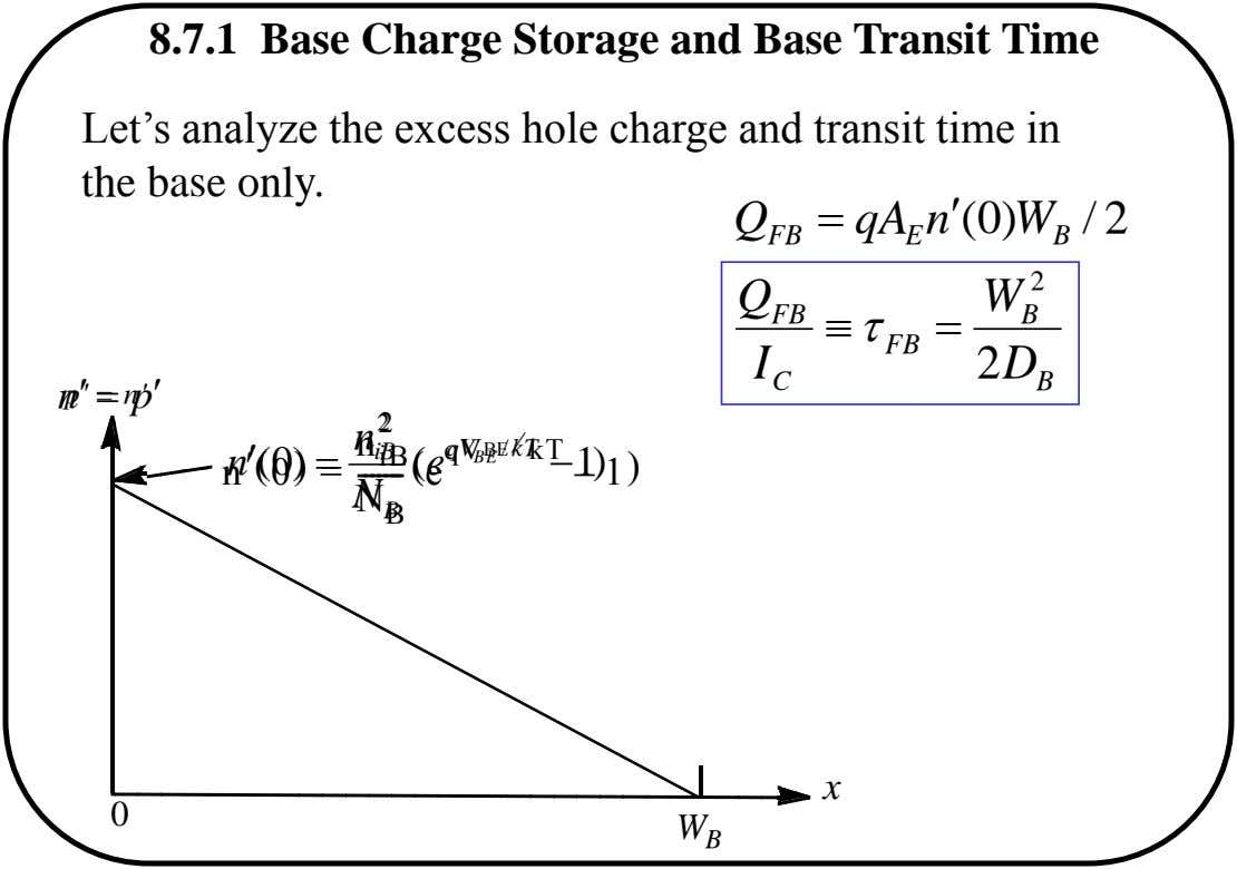 8.7.1 Base Charge Storage and Base Transit Time Let's analyze the excess hole charge and transit