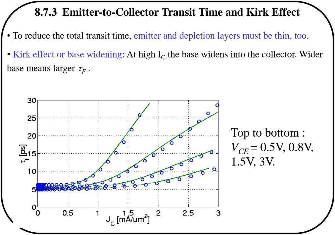 8.7.3 Emitter-to-Collector Transit Time and Kirk Effect • To reduce the total transit time, emitter and