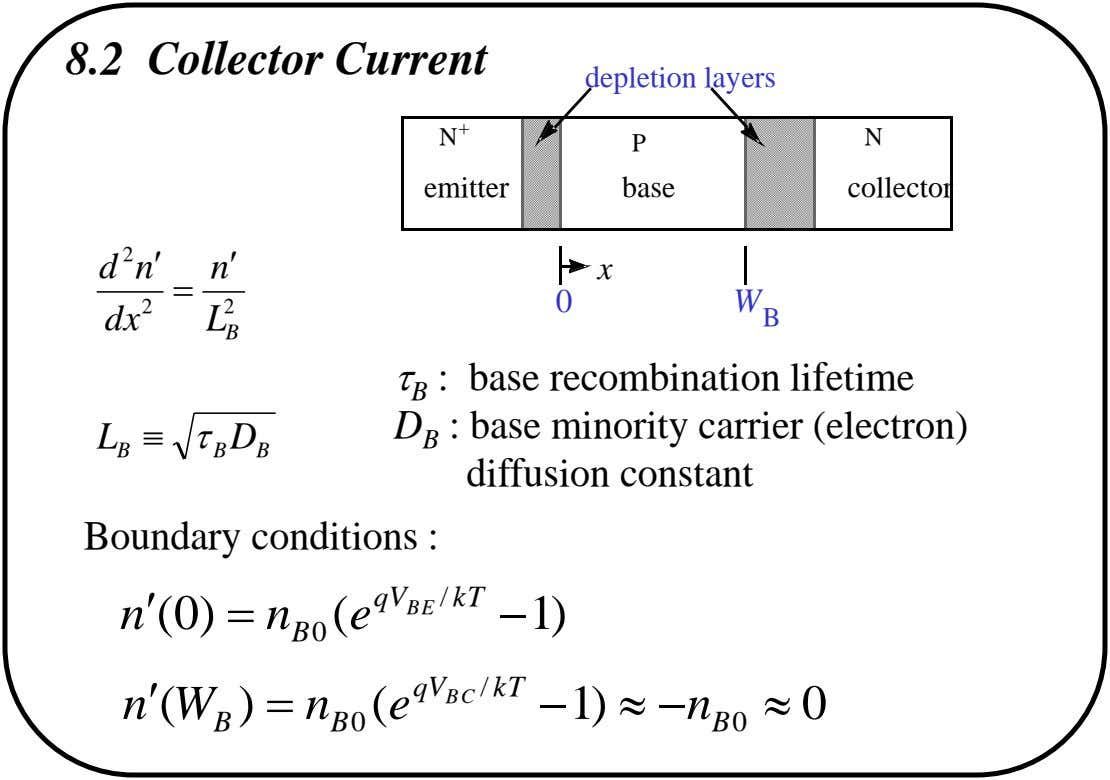 8.2 Collector Current depletion layers N + N P emitter base collector 2 x d n