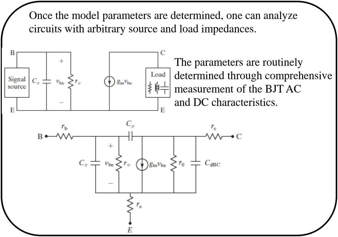 Once the model parameters are determined, one can analyze circuits with arbitrary source and load impedances.