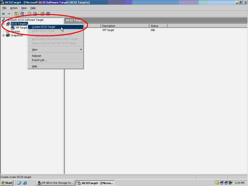 to launch the Create iSCSI Target Wizard. Click the Next> button to continue. Figure 9. Create