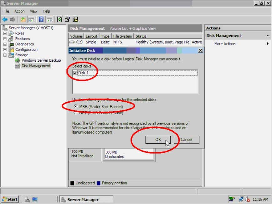 Check Disk 1 , select MBR and click the OK button to continue. Figure 29. Initialize
