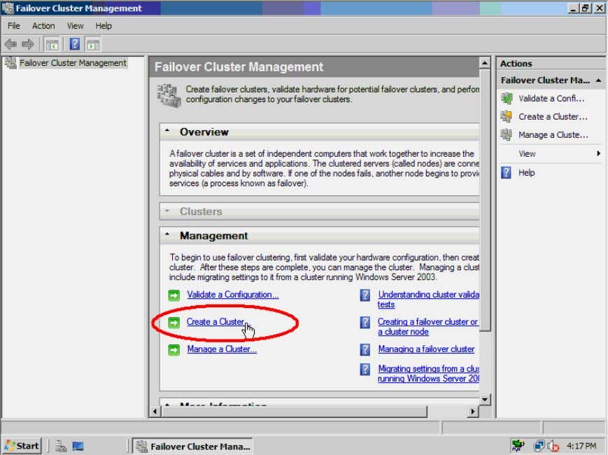 console middle panel, click Create a Cluster to launch the Create Cluster Wizard . Figure 41.
