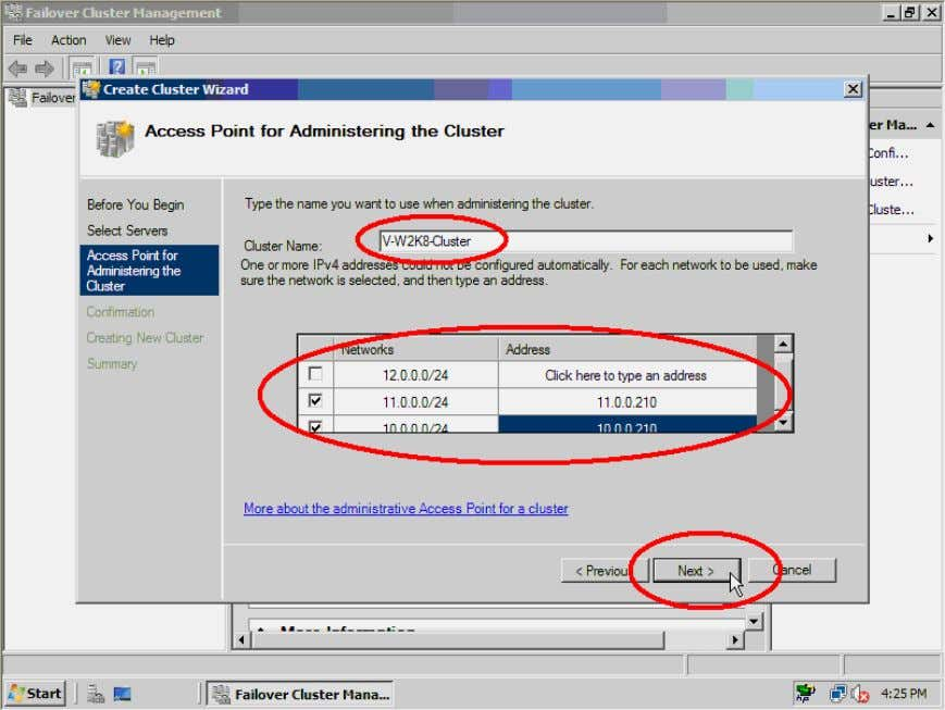 cluster. When successfully finishing, click the Finish button. Figure 43. Enter the cluster name and IP