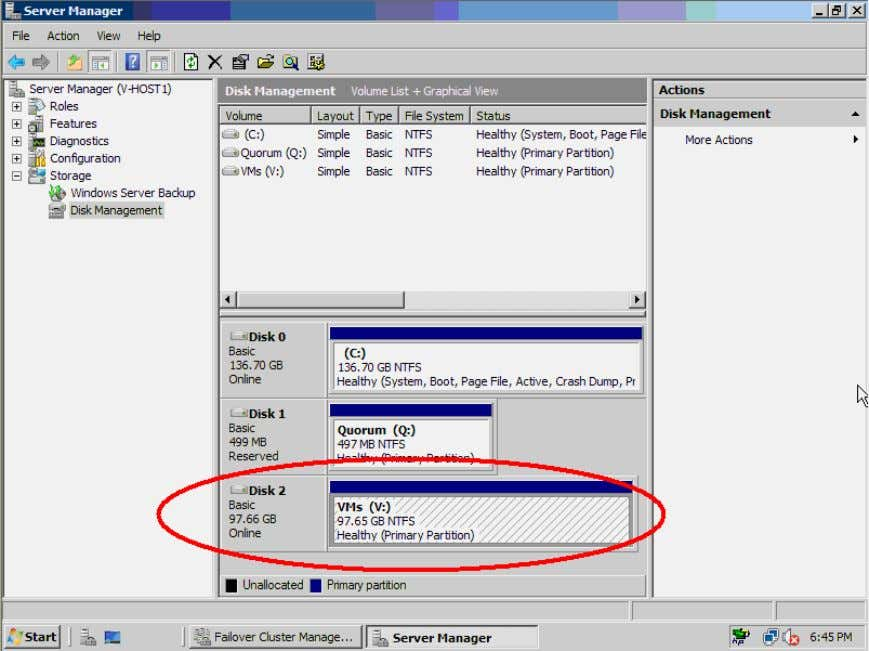 initialize and fo rmat the second disk and assign drive letter V for the disk. Figure