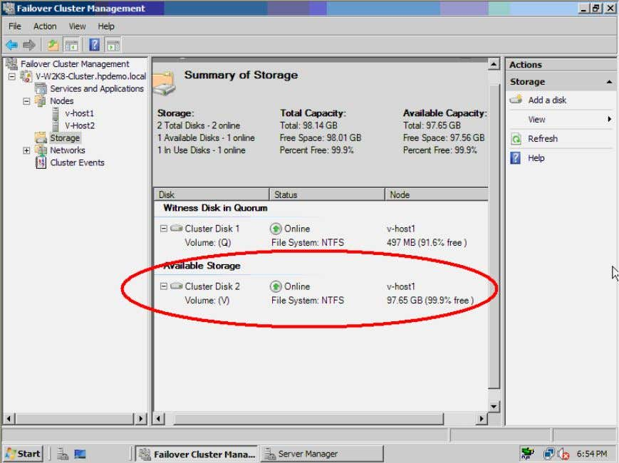 Cluster Disk 2 (Volume V) shows in the Summary of Storage in the middle panel. Figure